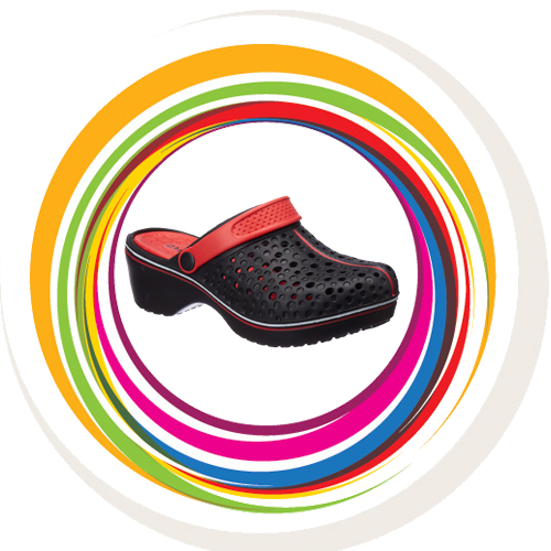 Cobbler Clogs - Red Black 1